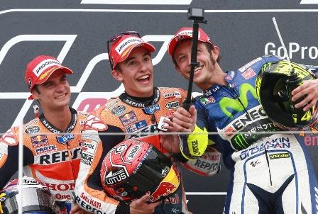 Pedrosa, Marquez dan Rossi selebrasi kemenangan di MotoGP Jerman