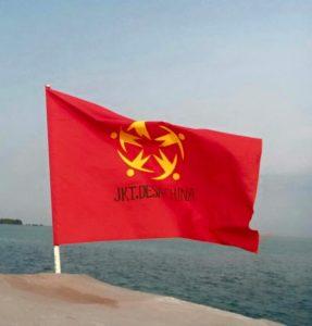 """Bendera bertuliskan """"Jkt, Desa China""""  (IST)"""
