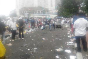 Sampah berserakan setelah aksi Indonesia Kita (IST)