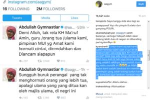 Akun Twitter dan Instagram Aa Gym (IST)