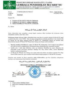 Surat edaran LP Ma'arif (IST)