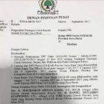 Surat berkop DPP Partai Golkar yang isinya mendukung Ridwan Kamil sebagai calon gubernur Jawa Barat. Surat itu beredar di kalangan awak media