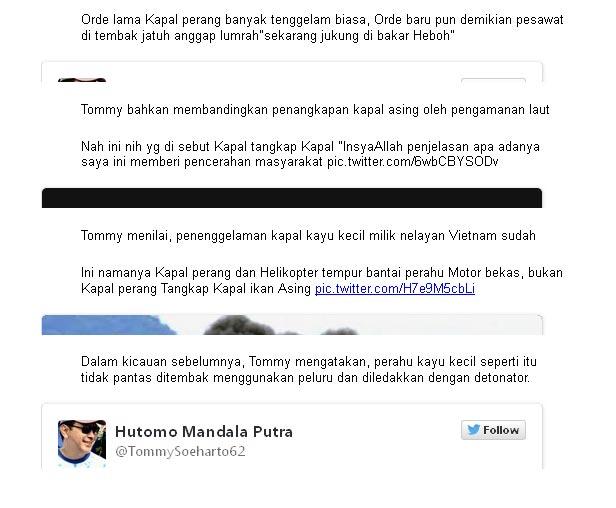 Kicau Tommy di Akun Pribadi Twitter