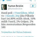 Survei Rustam yang memenangkan Ahok (IST)