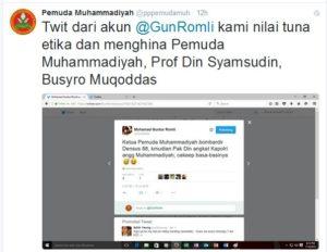 Pernyataan Pemuda Muhammadiyah di Twitter (IST)
