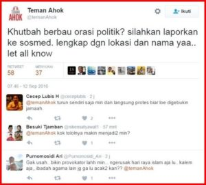 TemanAhok minta khutbah Idul Adha berbau politik dilaporkan (IST)