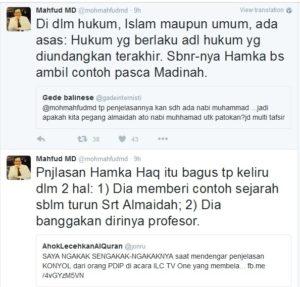 Pernyataan Mahfud MD di Twitter (IST)