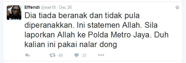Wartawan Senior: Pernyataan Allah Tidak Beranak dan Tidak Diperanakan, Silahkan Allah Dilaporkan ke Polda Metro Jaya