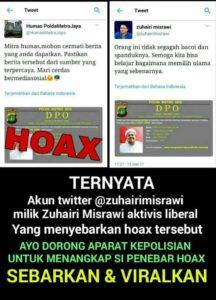 Politikus PDIP Zuhairi Misrawi sebarkan hoax (IST)