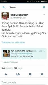 Akun Twitter Tengku Zulkarnain (IST)