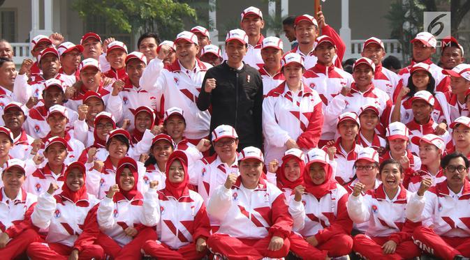 Presiden Jokowi dan kontingen atlet SEA Games 2017 (IST)