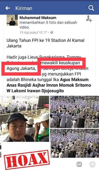 Berita Hoax Keuskupan Agung Jakarta hadiri HUT FPI (IST)